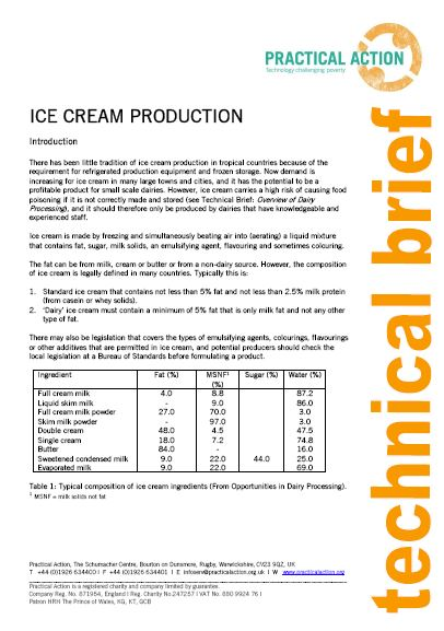 Ice Cream Production_Practical action